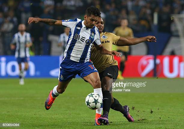 Porto's forward from Mexico Jesus Corona with Club Brugge KV's forward Jose Izquierdo in action during the UEFA Champions League match between FC...