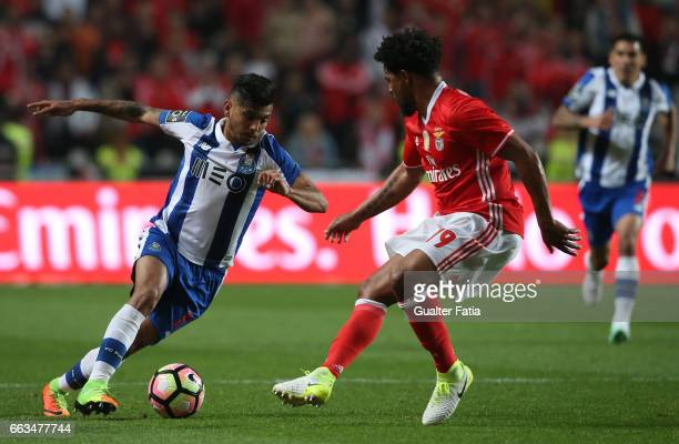 Porto's forward from Mexico Jesus Corona with SL Benfica's defender from Portugal Eliseu in action during the Primeira Liga match between SL Benfica...