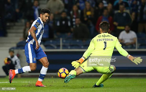 PortoÕs forward from Mexico Jesus Corona with SL BenficaÕs goalkeeper from Brazil Ederson in action during the Primeira Liga match between FC Porto...