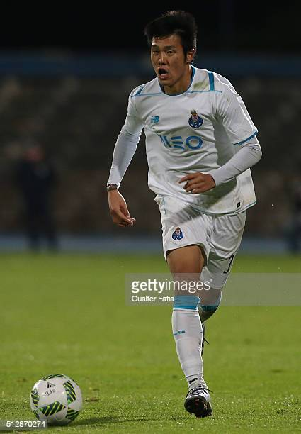 Porto's forward from South Korea Suk HyunJun in action during the Primeira Liga match between Os Belenenses and FC Porto at Estadio do Restelo on...