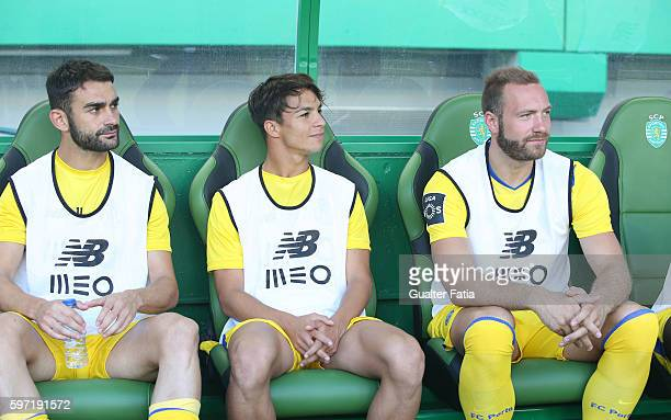 Porto's forward from Spain Adrian Lopez with FC Porto's midfielder from Spain Oliver Torres and FC Porto's forward from Belgium Laurent Depoitre...