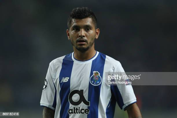 PortoÕs forward Jesus Corona from Mexico during the match between FC Porto v RB Leipzig or the UEFA Champions League match at Estadio do Dragao on...