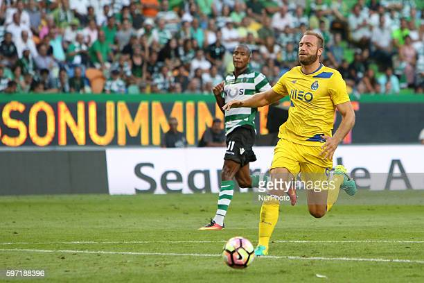 Porto's forward Laurent Depoitre in action during the Portuguese League football match Sporting CP vs FC Porto at Alvalade stadium in Lisbon on...
