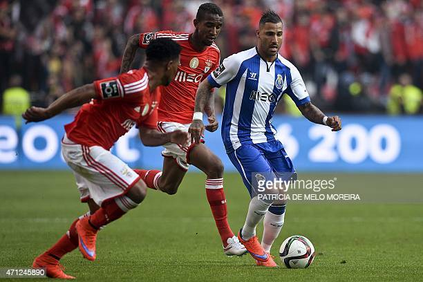 Porto's forward Ricardo Quaresma vies with Benfica's Brazilian forward Anderson Talisca and Benfica's defender Eliseu Santos during the Portuguese...