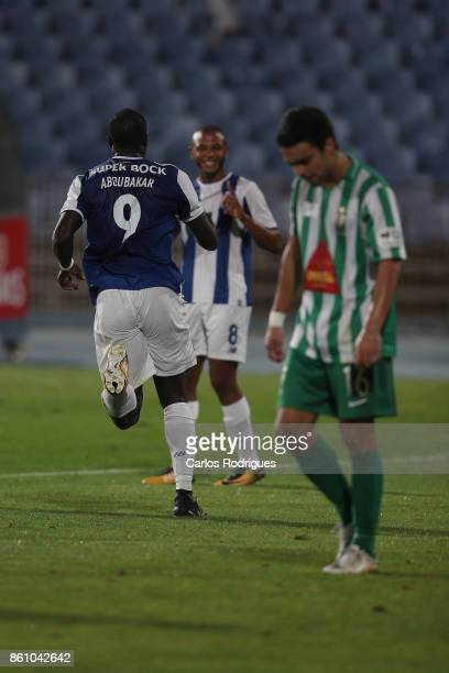 Porto's forward Vincent Aboubakar from Camaroes celebrates scoring Porto first goal during the match between Lusitano Ginasio Clube and FC Porto for...