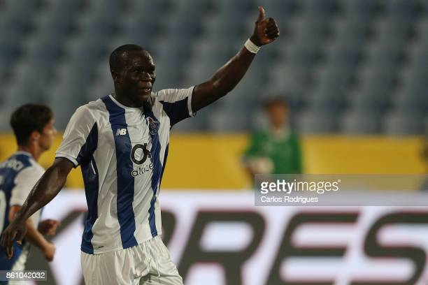 Porto's forward Vincent Aboubakar from Camaroes reacts during the match between Lusitano Ginasio Clube and FC Porto for the Portuguese Cup at Estadio...