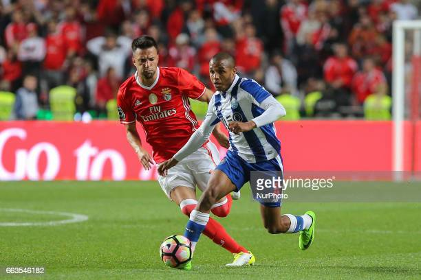 FC Portos forward Yacine Brahimi from Algeria and Benficas midfielder Andreas Samaris from Greece during the Premier League 2016/17 match between SL...
