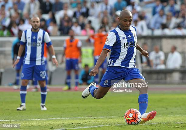 Porto's forward Yacine Brahimi in action during the Portuguese Cup Final match between FC Porto and SC Braga at Estadio Nacional on May 22 2016 in...