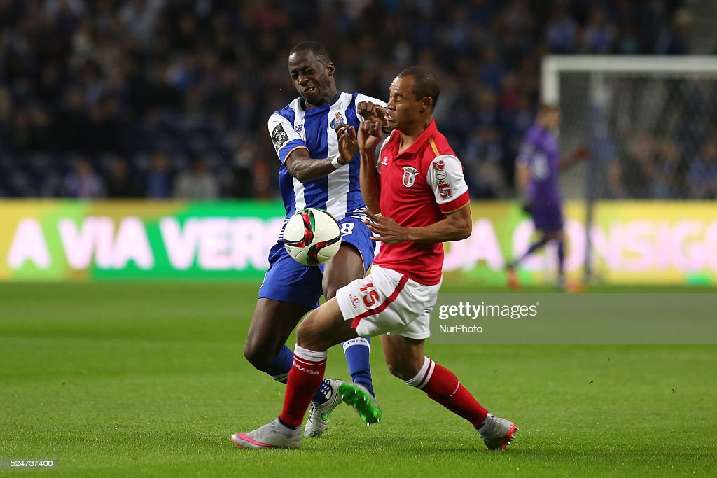 Porto's French defender Aly Cissokho and Braga's Brazilian defender Baiano during the Premier League 2015/16 match between FC Porto and SC Braga at...