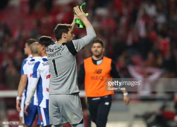 Porto's goalkeeper from Spain Iker Casillas at the end of the Primeira Liga match between SL Benfica and FC Porto at Estadio da Luz on April 1 2017...