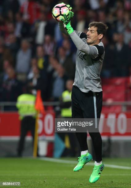Porto's goalkeeper from Spain Iker Casillas during warm up before the start of the Primeira Liga match between SL Benfica and FC Porto at Estadio da...