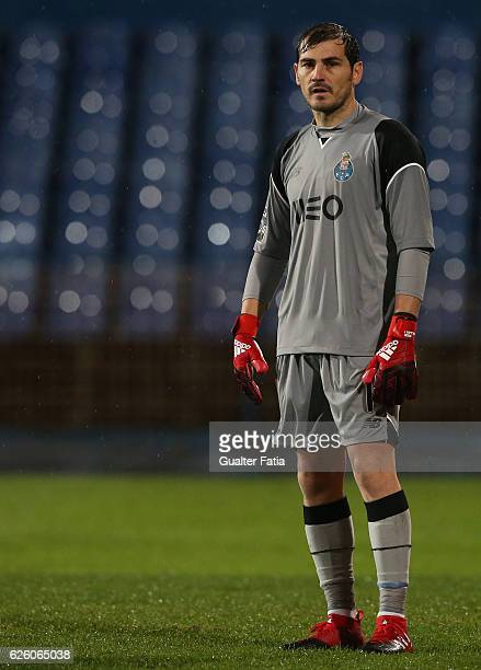 Porto's goalkeeper from Spain Iker Casillas in action during the Primeira Liga match between Os Belenenses and FC Porto at Estadio do Restelo on...