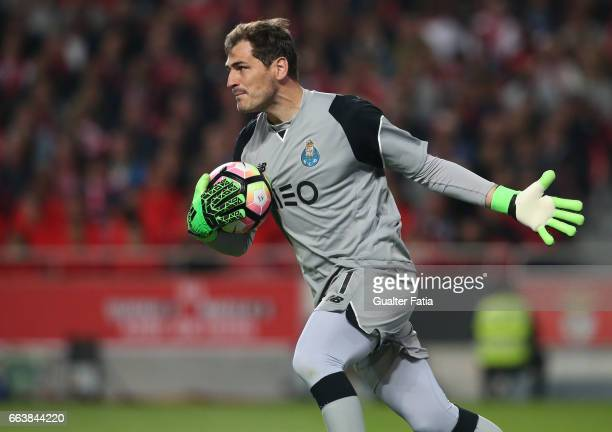 Porto's goalkeeper from Spain Iker Casillas in action during the Primeira Liga match between SL Benfica and FC Porto at Estadio da Luz on April 1...