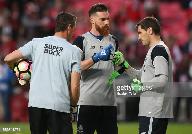 Porto's goalkeeper from Spain Iker Casillas with FC Porto's goalkeeper from Portugal Jose Sa during warm up before the start of the Primeira Liga...
