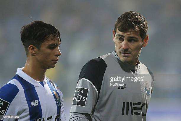 FC Portos goalkeeper Iker Casillas from Spain and FC Portos midfielder Oliver Torres from Spain during the Premier League 2016/17 match between GD...