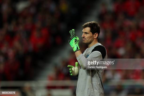 Porto's goalkeeper Iker Casillas from Spain during the match between SL Benfica and FC Porto for the Portuguese Primeira Liga at Estadio da Luz on...