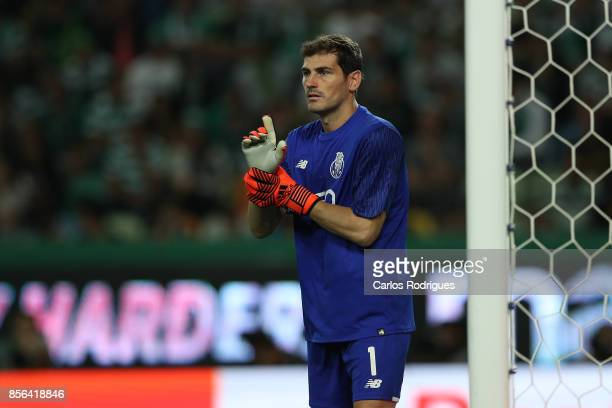 Porto's goalkeeper Iker Casillas from Spain during the Portuguese Primeira Liga round two match between Sporting CP and FC Porto at Estadio Jose...