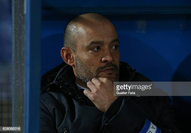 Porto's head coach Nuno Espirito Santo before the start of the Primeira Liga match between Os Belenenses and FC Porto at Estadio do Restelo on...