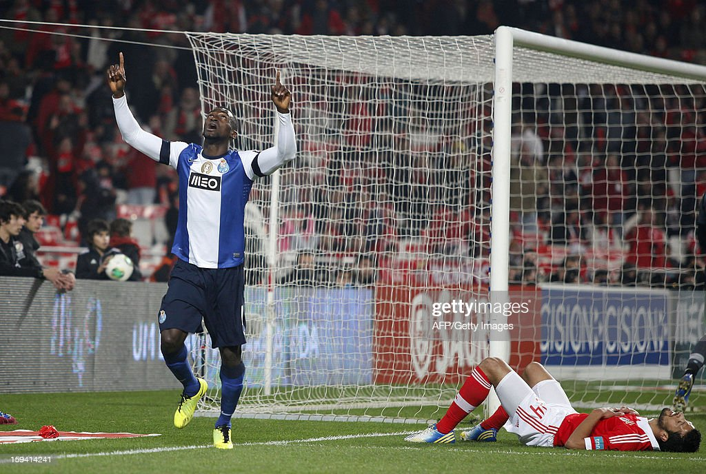 FC Porto's Jackson Martinez celebrates after scoring during the Portuguese league football match SL Benfica vs FC Porto at Luz Stadium in Lisbon on January 13, 2013.