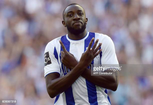 Porto's Malian forward Moussa Marega celebrates after scoring a goal during the Portuguese league football match FC Porto vs Estoril Praia at Dragao...