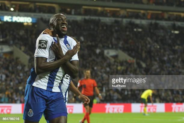 Porto's Malian forward Moussa Marega celebrates after scoring goal during the Premier League 2017/18 match between FC Porto and FC Pacos de Ferreira...