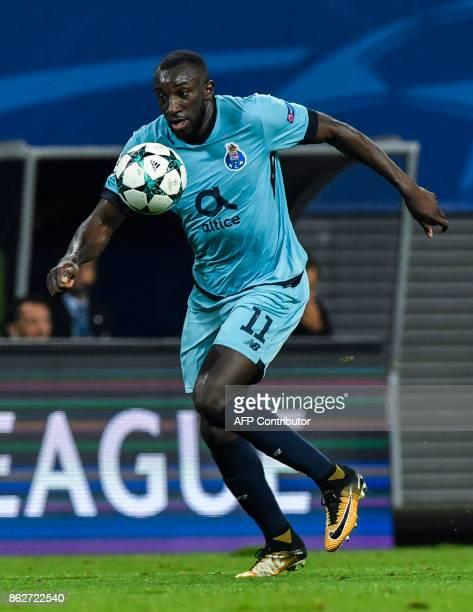 Porto's Malian forward Moussa Marega controls the ball during the UEFA Champions League group G football match RB Leipzig v FC Porto in Leipzig...