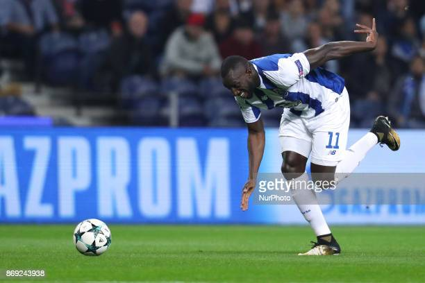Porto's Malian forward Moussa Marega in actions during the UEFA Champions League Group G match between FC Porto and Leipzig at Dragao Stadium on...
