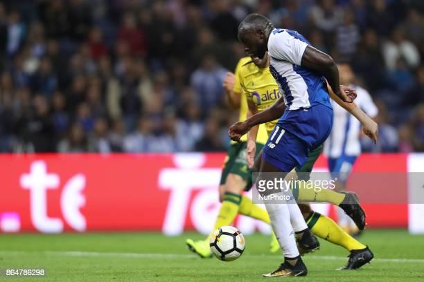 Porto's Malian forward Moussa Marega kick for goal during the Premier League 2017/18 match between FC Porto and FC Pacos de Ferreira at Dragao...