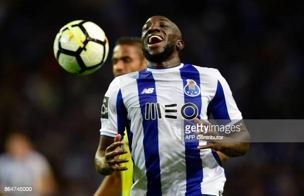 Porto's Malian forward Moussa Marega reacts during the Portuguese league football match FC Porto vs FC Pacos de Ferreira at the Dragao stadium in...