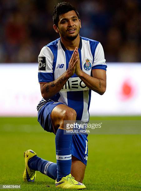 Porto's Mexican forward Jesus Corona gestures after missing a chance to score a goal during the Portuguese league football match FC Porto vs CS...