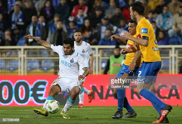 Porto's mexican forward Jesus Corona in action during the Primeira Liga match between GD Estoril Praia and FC Porto at Estadio Antonio Coimbra da...