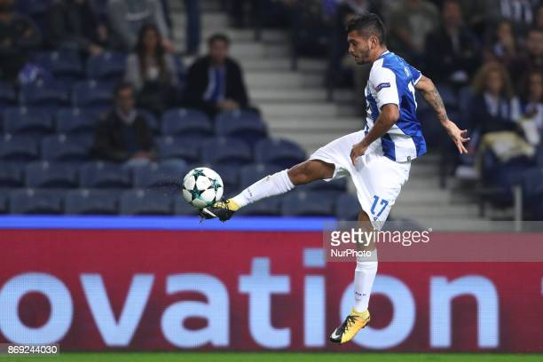 Porto's Mexican forward Jesus Corona in action during the UEFA Champions League Group G match between FC Porto and RB Leipzig at Dragao Stadium on...