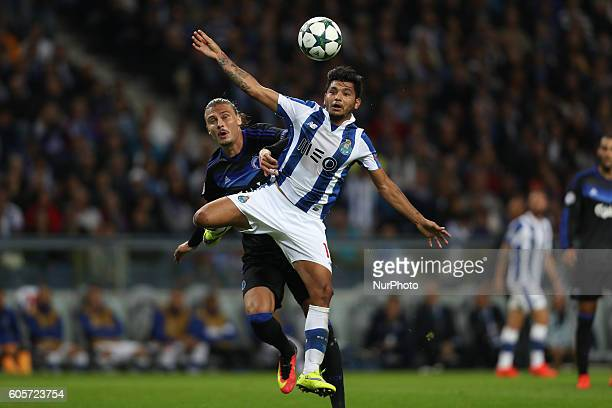 Porto's Mexican forward Jesus Corona in action with Kobenhavn's defender Erik Johansson during the UEFA Champions League Group G match between FC...