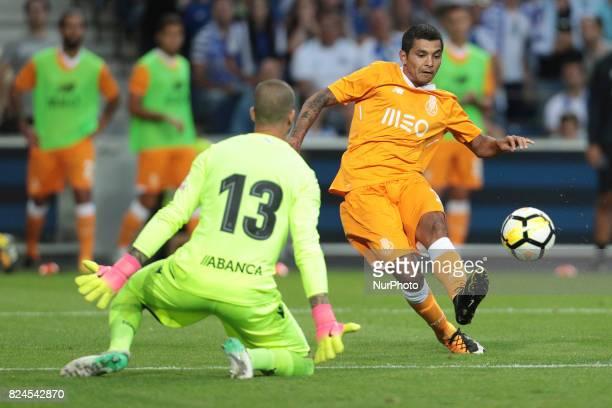 Porto's Mexican forward Jesus Corona kick for goal during the preseason friendly between FC Porto and Deportivo da Corunha at Dragao Stadium on July...