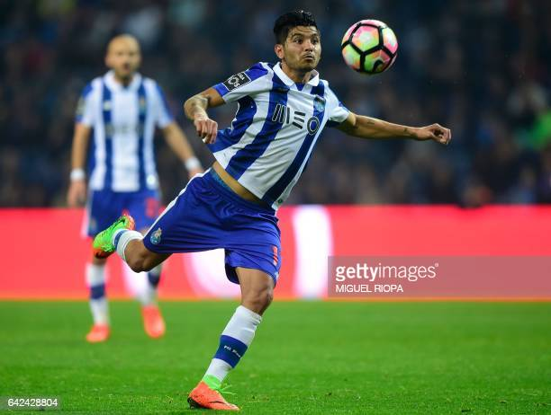 Porto's Mexican forward Jesus Corona kicks the ball during the Portuguese league football match FC Porto vs CD Tondela at the Dragao stadium in Porto...