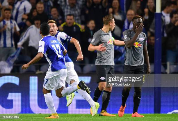 Porto's Mexican midfielder Hector Herrera celebrates after scoring a goal during the UEFA Champions League group G football match FC Porto vs Leipzig...