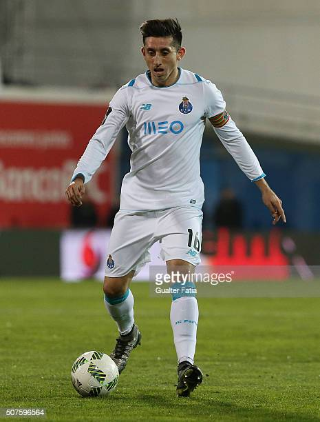 Porto's mexican midfielder Hector Herrera in action during the Primeira Liga match between GD Estoril Praia and FC Porto at Estadio Antonio Coimbra...