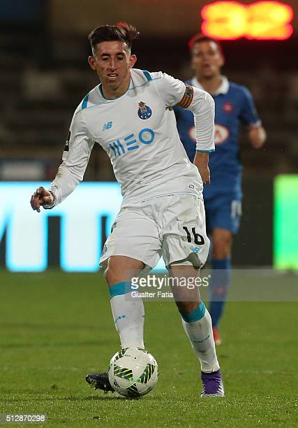 Porto's mexican midfielder Hector Herrera in action during the Primeira Liga match between Os Belenenses and FC Porto at Estadio do Restelo on...
