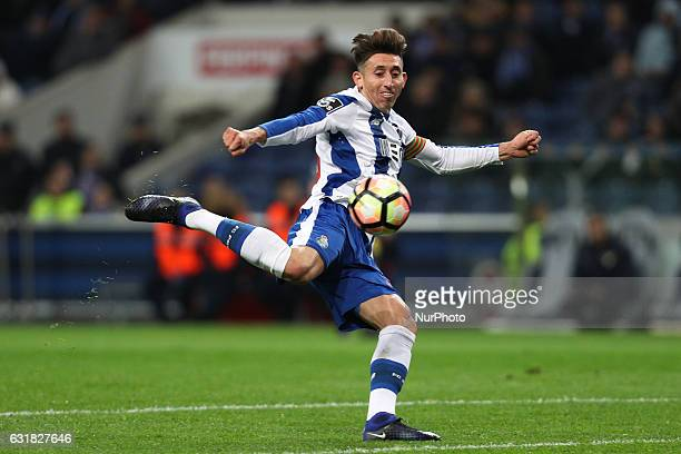 Porto's Mexican midfielder Hector Herrera in action during the Premier League 2016/17 match between FC Porto and Moreirense at Dragao Stadium in...