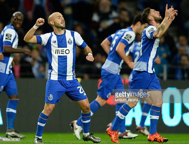 Porto's midfielder Andre Andre celebrates after scoring a goal during the Portuguese league football match FC Porto vs CS Maritimo at the Dragao...
