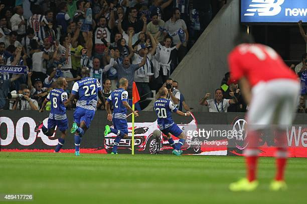 Porto's midfielder Andre Andre celebrates scoring Porto«s goal during the match between FC Porto and SL Benfica for the Portuguese Primeira Liga at...