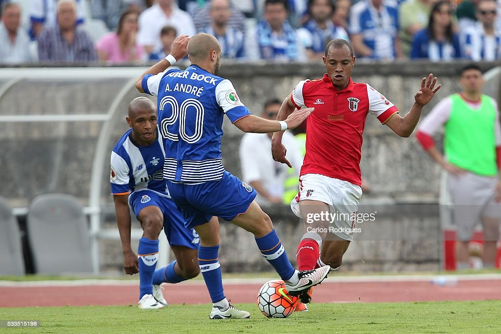 Porto's midfielder Andre Andre vies with Braga's defender Baiano during the match between FC Porto and SC Braga for the Portuguese Cup Final at...