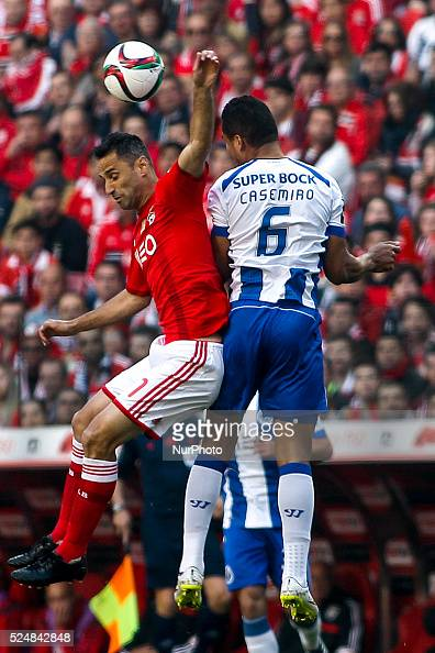 Porto's midfielder Casemiro vies with Benfica's forward Jonas during the Portuguese League football match between SL Benfica and FC Porto at Luz...