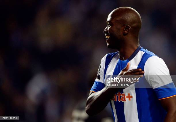 Porto's midfielder Danilo Pereira celebrates a goal during the Portuguese league football match FC Porto vs A Academica de Coimbra at the Dragao...