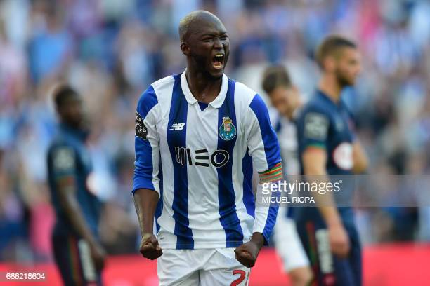 Porto's midfielder Danilo Pereira celebrates a goal during the Portuguese league football match FC Porto vs Belenenses at the Dragao stadium in Porto...