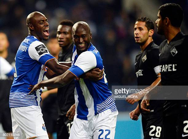Porto's midfielder Danilo Pereira celebrates a goal with teammate Dutch defender Bruno Martins Indi during the Portuguese league football match FC...