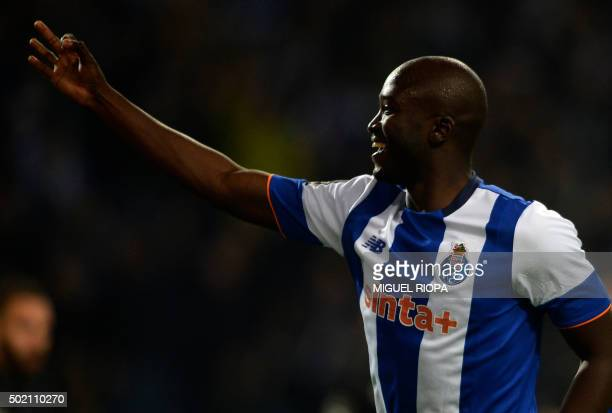 Porto's midfielder Danilo Pereira celebrates after scoring a goal during the Portuguese league football match FC Porto vs A Academica de Coimbra at...