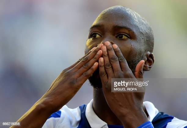 Porto's midfielder Danilo Pereira celebrates after scoring a goal during the Portuguese league football match FC Porto vs Belenenses at the Dragao...