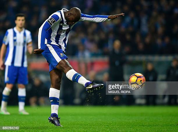 Porto's midfielder Danilo Pereira kicks the ball to score during the Portuguese league football match FC Porto vs GD Chaves at the Dragao stadium in...