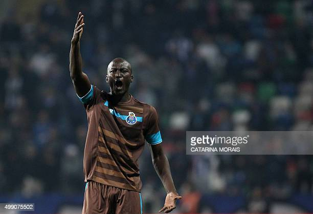 Porto's midfielder Danilo Pereira shouts during the Portuguese league football match CD Tondela vs FC Porto at the Aveiro Municipal stadium in Aveiro...